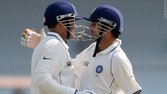 Virender Sehwag (left) and Gautam Gambhir added 233 for the opening wicket as India took control in Kanpur.
