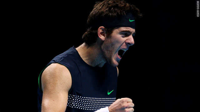 Juan Martin del Potro celebrates his victory over Roger Federer than put him in the London semis.