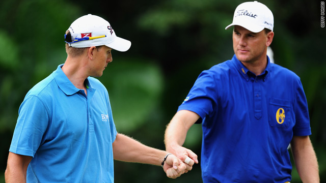 Henrik Stenson, left, and Robert Karlsson are seeking to defend their World Cup title for Sweden.