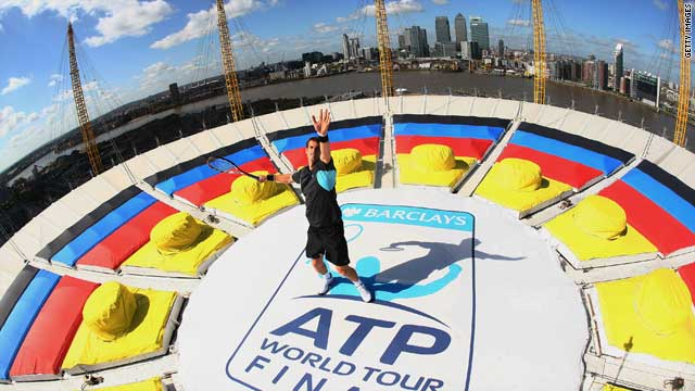 Andy Murray on top of the O2 Arena promotes the ATP World Tour Finals.