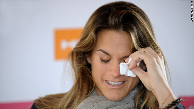 A tearful Amelie Mauresmo explained to reporters in Paris why she was ending her career.