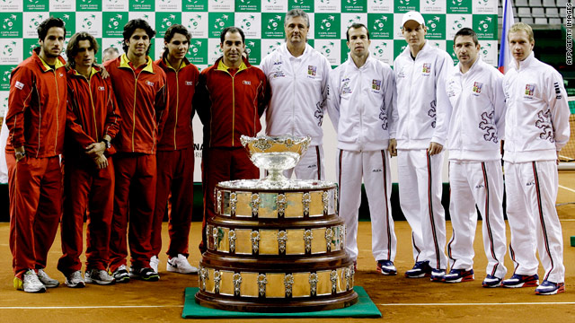Spain, in red, will be seeking to defend their Davis Cup crown in the final against the Czech Republic.