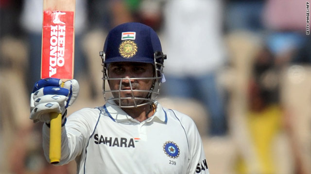 India's Virender Sehwag fell just seven runs short of a world record third triple-century against Sri Lanka.
