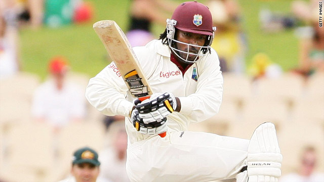 Chris Gayle fired his first-ever century against Australia to put West Indies in a winning position.
