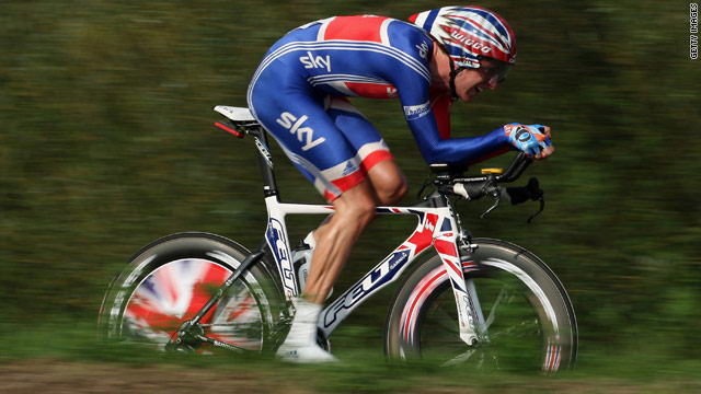 Bradley Wiggins in action for Britain at the men's time trial at the road world championships in September.