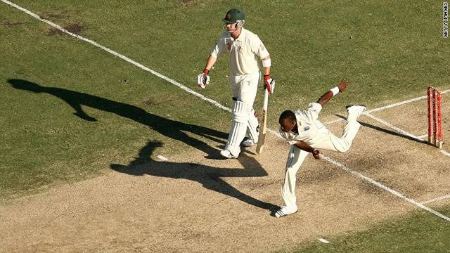 Dwayne Bravo sends down a delivery at the WACA in Australia's second innings.