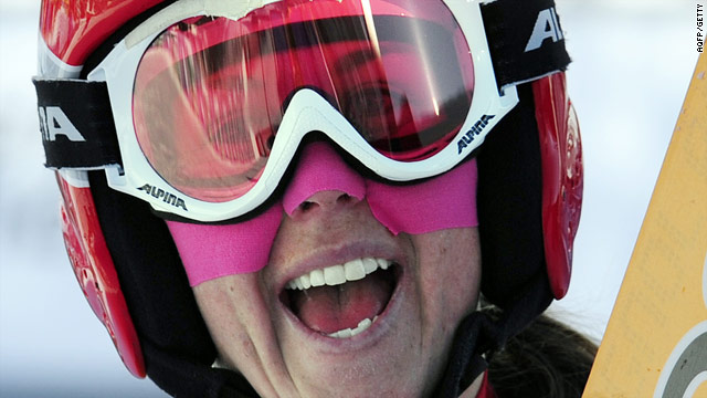 Aufdenblatten was overjoyed after claiming her maiden World Cup victory in the super-G in France.