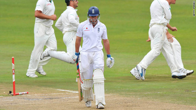England captain Andrew Strauss departs after having his stumps knocked over by Morne Morkel.