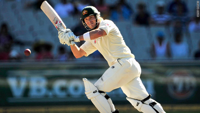 Australia opener Shane Watson hit an unbeaten 64 to put his side in control at stumps on day three against Pakistan.