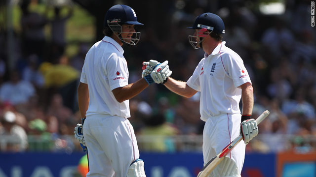 Cook (left) and Collingwood put England in a strong position with a stand of 142.