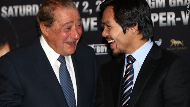 Promoter Bob Arum (left) and Manny Pacquiao remain locked in a dispute with Floyd Mayweather regarding their anticipated 2010 showdown.