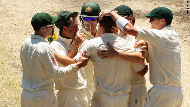Ricky Ponting (second left) and the rest of his Australia team celebrate their convincing victory over Pakistan.