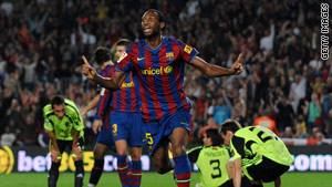 Seydou Keita celebrates scoring Barcelona's opening goal against Real Zaragoza on Sunday.