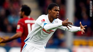Maicosuel celebrates the only goal as Hoffenheim beat Freiburg 1-0 on Sunday.