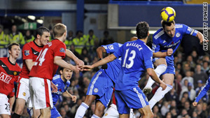 John Terry rises to meet Frank Lampard's free-kick, which proves to be the winning goal for Chelsea.