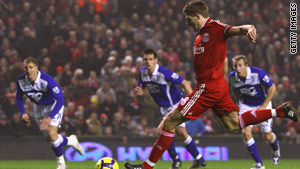 Steven Gerrard fires home Liverpool's equalizer in their 2-2 home draw with Birmingham.