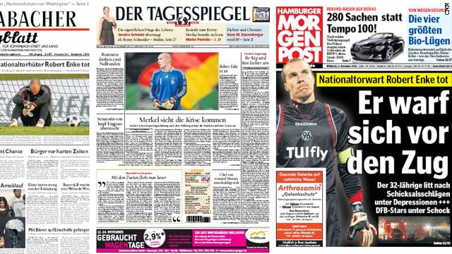 German newspaper reaction to Robert Enke's death