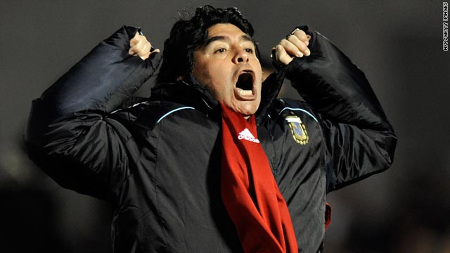 Coach Diego Maradona exploded in relief after Argentina scored a vital winner against Uruguay last month.