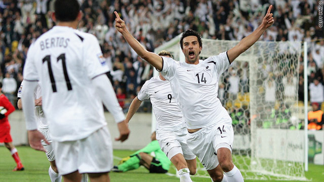 New Zealand's Rory Fallon celebrates scoring what turned out to be the decisive goal in their World Cup play-off with Bahrain.