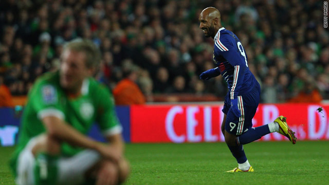 Anelka wheels away after scoring the decisive goal at Croke Park on Saturday.