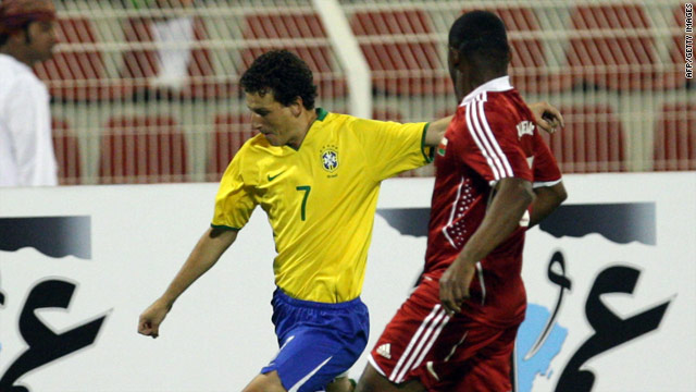 Brazilian midfielder Elano on the ball during the 2-0 victory over Oman.