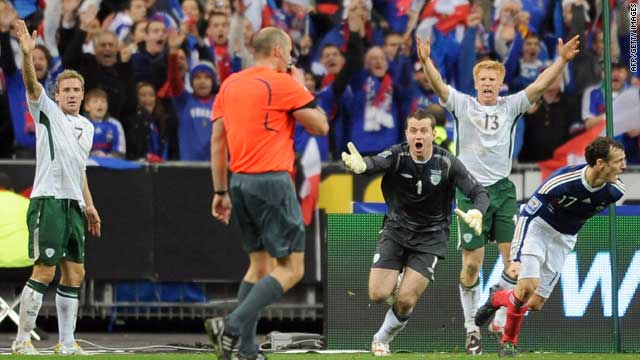Irish disbelief greets the referee's decision to allow France's controversial goal on Wednesday