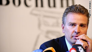 UEFA representative Peter Limacher addresses a news conference in Germany.