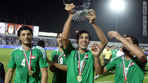 Iraqi players celebrate following a win this month over the United Arab Emirates.