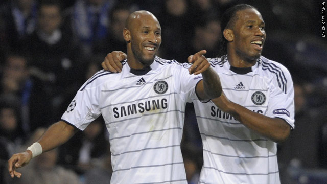 Nicolas Anelka (left) celebrates his goal with Didier Drogba as Chelsea finished top of the group.