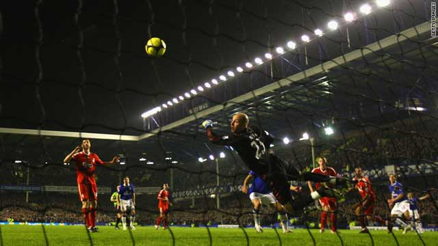 Everton played rivals Liverpool in the FA Cup under the lights of Goodison Park in January.