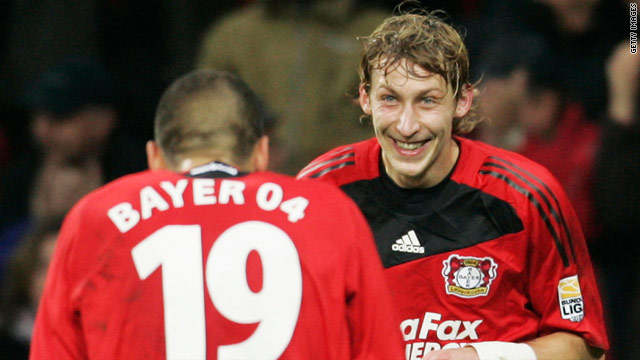 Kiessling is congratulated by fellow goalscorer Derdiyok in the emphatic home victory.