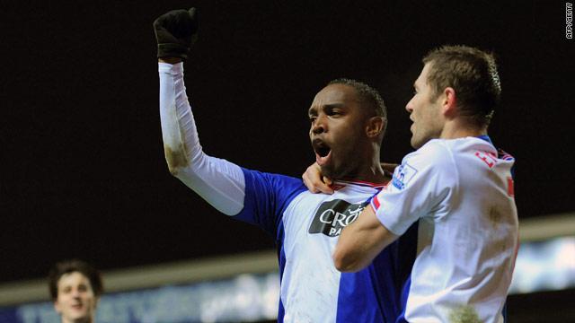Blackburn's South Afircan star Benni McCarthy celebrates his peanlty goal at Ewood Park.