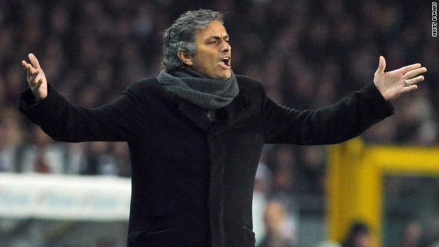 Jose Mourinho was sent to the stands after his sarcstic gestures at referee Massimiliano Saccani.