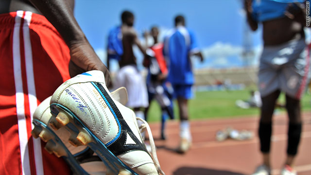 Players warm up at the recent Cecafa Cup in Kenya. About half the Eritrean team did not go home.