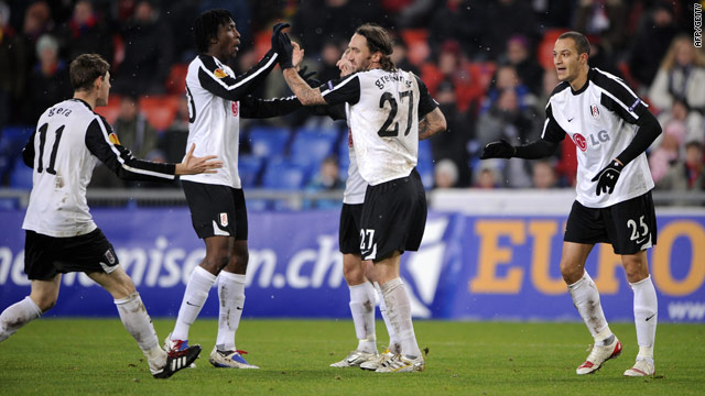 Fulham players celebrate after Zamaro (far right) scores his second.