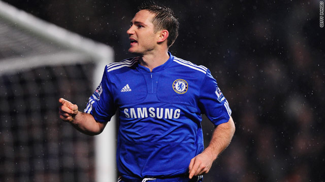 Lampard celebrates his late penalty winner for league leaders Chelsea at Stamford Bridge.