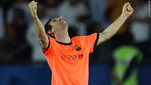 Barcelona forward Lionel Messi celebrates his winning goal in the final of the Club World Cup.