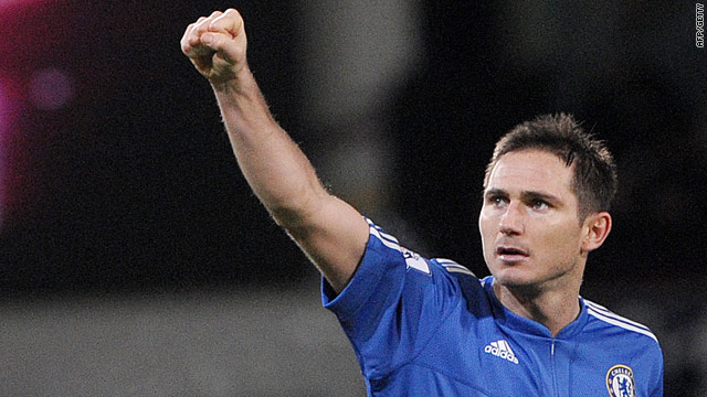 Lampard celebrates his successful penalty which gave Chelsea a share of the spoils at West Ham.