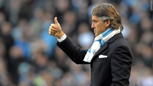 Mancini gives the thumbs up as his new team claimed a 2-0 win at Eastlands.