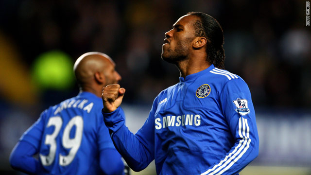 Drogba celebrates his 71st minute equalizer for Chelsea at Stamford Bridge.