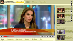 Queen Rania owns a Youtube channel, a Facebook page, a hugely popular Twitter account and a Web site.