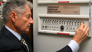 Leonard Kleinrock today, with the UCLA computer he used to send a message to a lab at Stanford University.