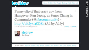 Tweets containing ads, like this one from Dr. Drew's Twitter account, will note they are ads from Ad.ly.