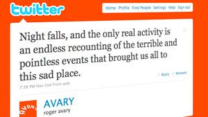 Oscar winner Roger Avary's Twitter account details jail life.