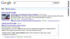 "Google's search results page will soon contain a ""latest results"" section."