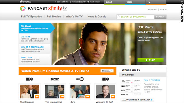 Comcast's new service gives customers the ability to watch premium and network shows and TV online.