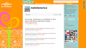 Parking tips are available on Twitter for last-minute holiday shoppers at the Mall of America.