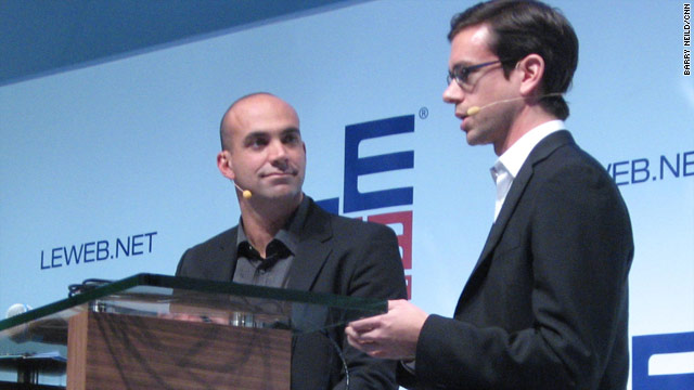 "Twitter founder Jack Dorsey, right, with LeWeb host Loic Le Meur, at the unveiling of ""Square."""
