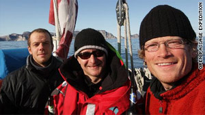 Cameron Dueck (center) and the crew of the Silent Sound after sailing the Northwest Passage.