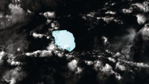 Satellite image of the iceberg south west from West Australian coast on November 5.